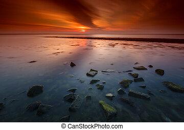 Sea Breakwater Sunset in Long Expos