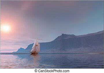 SEA  BREEZE - Seascape of a sailing vessel near the coast.