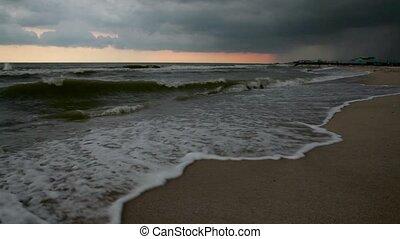Sea breeze storm at sea. Hurricane in the sea - Sea breeze...