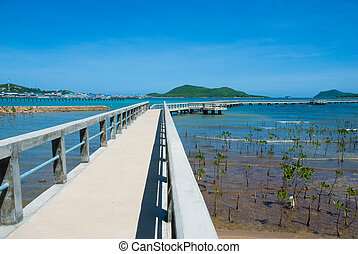 sea bridge with blue sky