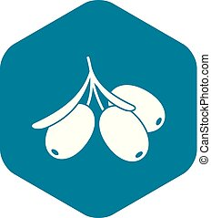 Sea buckthorn branch icon, simple style