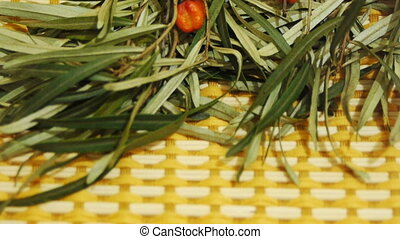 Sea buckthorn branch on a table, close-up video