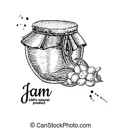Sea buckthorn jam glass jar vector drawing. Fruit Jelly and marmalade. Hand drawn food illustration. Sketch style vintage objects for label, icon, packaging design.