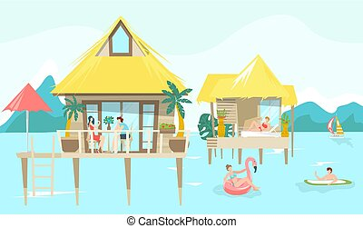 Sea bungalow and vacationers people sunbathing on tropical thai resort, vacation flat vector illustration.