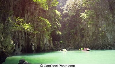 Sea Canoe Tour in Phang Nga Bay, Thailand. Ultra HD stock ...