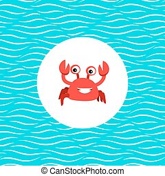 Sea card with crab in circle