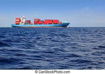 sea cargo merchant ship sailing blue ocean