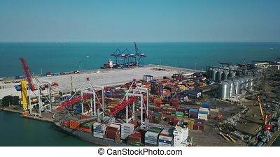 Sea cargo port with big warehouse - Odessa, Ukraine - 24...