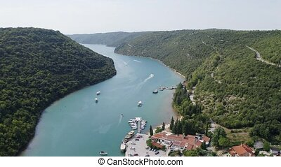 Sea channel - Aerial view high of Lim channel. Limski kanal...