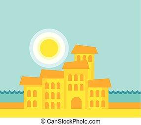 sea city vector illustration
