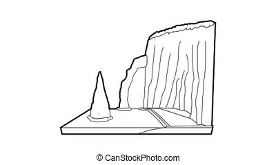 Sea cliff icon animation best outline object on white background