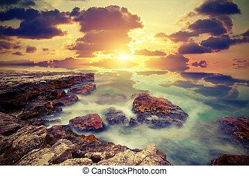 Sea cliffs. Vintage style