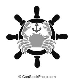 Sea club emblem with crab and handwheel illustration