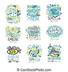 Sea club set for label design. Yacht club, sailing sports or marine travel hand drawn colorful vector Illustrations