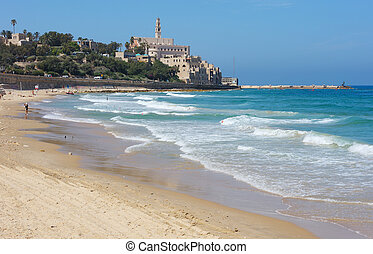 Sea coast and the view of Old Jaffa - Sea coast and the view...