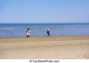 Sea coast line. Sunny spring day on Baltic sea