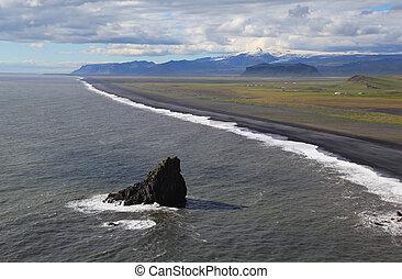 Sea coast near the Arch Dyrholaey in Iceland