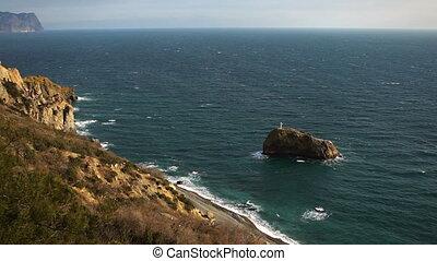 Sea coast. Rock of the holy phenomenon. Cape Fiolent,...