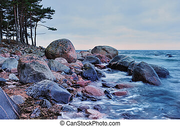 Sea coast with boulders