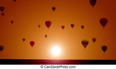 sea., coucher soleil, beau, lent, motion., balloon, ballons, super, festival., fond