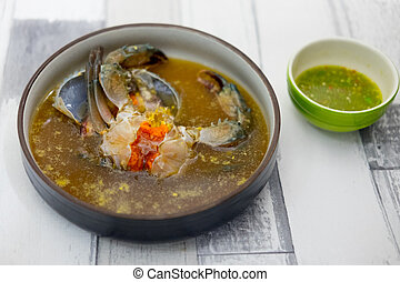 Sea crab eggs pickled in fish sauce