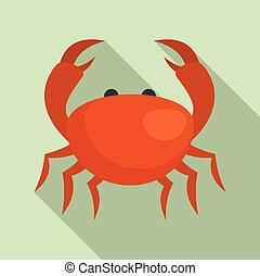 Sea crab icon, flat style