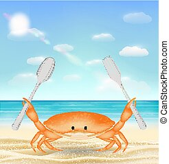 sea crab with fork and spoon on sea sand beach