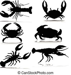 sea crabs only vector silhouettes