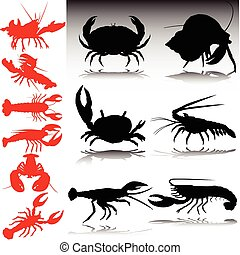 sea crabs red and black vector silhouettes