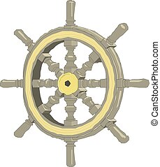 Sea-craft steering wheel on a white background Vector illustration.
