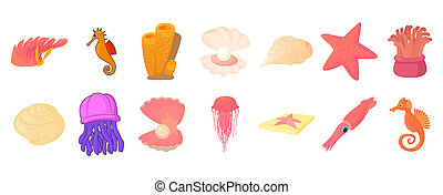 Sea creature icon set, cartoon style - Sea creature icon...