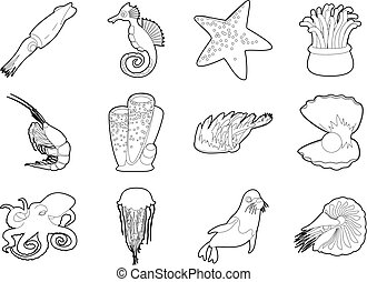 Sea creature icon set, outline style - Sea creature icon...