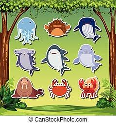 Sea creature sticker character illustration