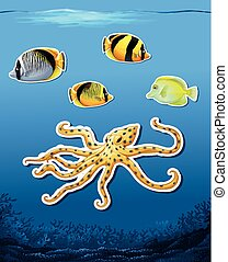 Sea creature sticket underwater background illustration