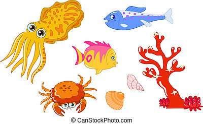 Sea creatures 2 - Cute cartoon sea creatures and seashell...
