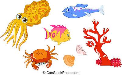 Sea creatures 2 - Cute cartoon sea creatures and seashell...