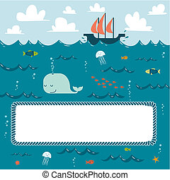 Sea creatures and decorative frame for your text