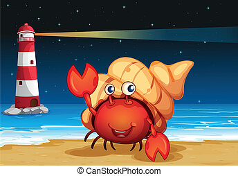 Sea creatures at the beach with a lighthouse - Illustration...