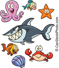 Cartoon sea creatures. Vector clip art illustration with simple gradients. All in a single layer.