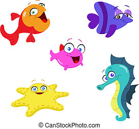 Sea creatures - Cute cartoon sea creatures
