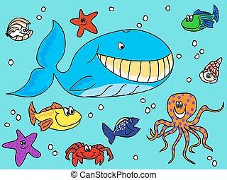 Sea creatures doodle
