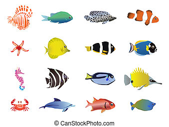 sea-creatures - Vector illustration of set of sea creatures