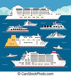 Sea cruise liner vector flat vacation passenger ship