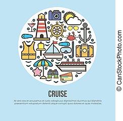 Sea cruise travel or summer ocean vacation vector poster