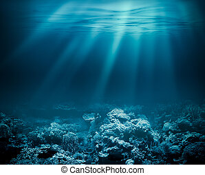 Sea deep or ocean underwater with coral reef as a background...