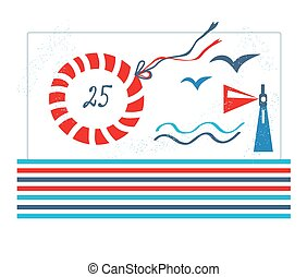 Sea design card for birthday or party