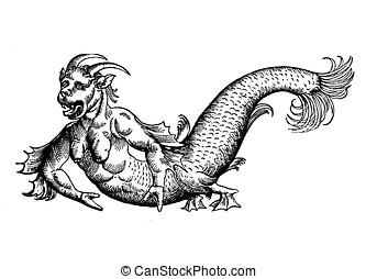 Sea devil monster, medieval representation