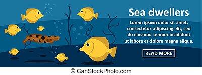 Sea dwellers banner horizontal concept