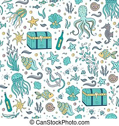 Sea elements patterns - Vector seamless pattern with sea and...