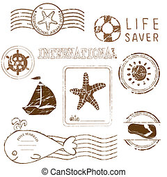 Sea elements - Vector rubber stamp collection